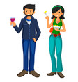 young man and girl eat fast food in flat design vector image