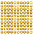 100 hacking icons set gold vector image vector image