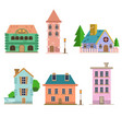 apartment house set flat style vector image vector image