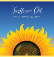banner or label for sunflower oil with sunflower vector image vector image