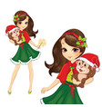 Brunette Christmas Girl With Monkey vector image vector image