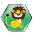 button with animal lion vector image vector image