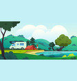 camping landscape cartoon countryside with forest vector image