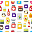 cartoon canned and jar food seamless pattern vector image vector image