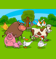 cartoon farm animal characters on meadow vector image vector image