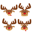 Cartoon set with heads of deers vector image vector image