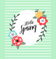 cartoon spring card with cute floral frame vector image vector image