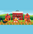 chicken family at farmland vector image vector image