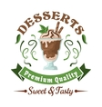 Chocolate ice cream with mint leaves retro badge vector image vector image