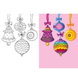 Coloring Book Of Different Christmas Decoration vector image vector image