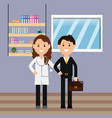doctor woman with stethoscope and businessman vector image