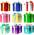 et colorful gift box with shiny ribbon bow vector image vector image