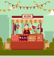 farmer street market counter with meat and seller vector image