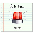 Flashcard letter S is for siren vector image vector image