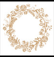 hello autumn hand drawn wreath brown color vector image