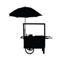 hot dog trolley wheel with umbrella silhouette vector image vector image
