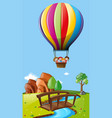 Kids riding balloon over the field vector image