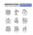 Law and Justice - flat design icons set vector image