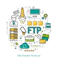 Line Art Concept of FTP vector image vector image