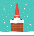 little santa claus in chimney vector image vector image