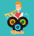 man playing trumpet with vinyl disks vector image vector image