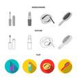 mascara hairbrush lipstick eyebrow pencil vector image vector image