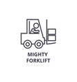 mighty forklift thin line icon sign symbol vector image