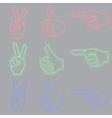 Neon Sign in Form of a Hand vector image vector image
