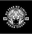 no fears no limits tiger t-shirt design on a vector image vector image