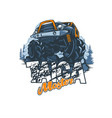 off-road vehicle with name master taiga in vector image vector image