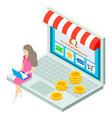 online shop isometric 3d laptop customer woman vector image