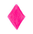 pink crayon scribble texture stain rhombus shape vector image vector image