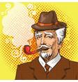 Pop art elderly man smoking