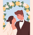 portrait newly-married love couple at wedding vector image