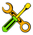 screwdriver and spanner icon cartoon vector image vector image