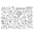 set of doodle bacteria germs or cartoon monsters vector image