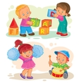Set of icons little children playing with vector image