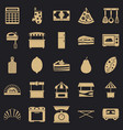 shop with buns icons set simple style vector image