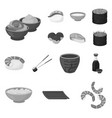 sushi and seasoning monochrome icons in set vector image vector image