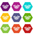 vegan food icons set 9 vector image