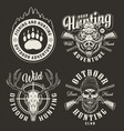 vintage hunting club monochrome emblems vector image vector image