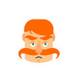 vintage irishman with red mustache sad emoji vector image vector image