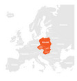 visegrad four map states highlighted by orange in vector image vector image