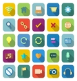Web color icons with long shadow vector image vector image