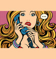 woman bad talking on the phone vector image