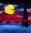Halloween night with scary tree on the moon vector image
