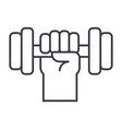 strong hand with dumbbell line icon sign vector image