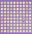 100 scientific icons set in cartoon style vector image vector image