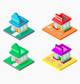 3d isometric shop and cafe vector image
