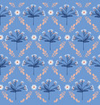 blue and peach detailed floral lattice vector image vector image